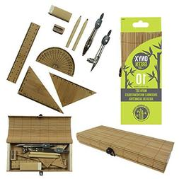 Onyx and Green 10 Piece Math Set, Comes in New Trendy Bamboo