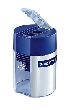 Staedtler Metal Double Hole Sharpener with Tub, 512001BK 2-P