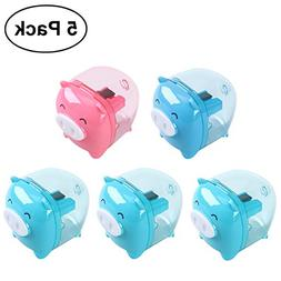 NUOLUX 5pcs Mixed Colors Piggy Pencil Sharpener Cartoon Pig