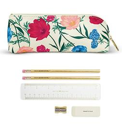 Kate Spade New York Women's Blossom Pencil Case, Red/Blue/Wh