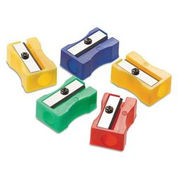 One-Hole Manual Pencil Sharpeners, Red/Blue/Green/Yellow, 4w