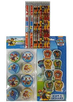 Paw Patrol 12 Pencil, 8 Sharpeners & 8 Erasers - 28pc Set