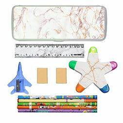 Pencil Case Combo/Suit Pencil Box Ruler Eraser Highlighter f