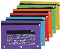 Pencil Case Pencil Pouch Zipper with 3 Ring and Double Pocke