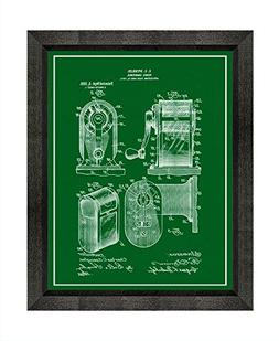 Pencil Sharpener Patent Art Green Print with a Border in a B
