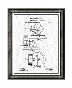Pencil Sharpener Patent Art Gunmetal Print with a Border in