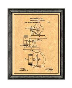 Pencil Sharpener Patent Art Print with a Border in a Black W