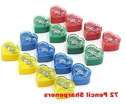 Pencil Sharpeners With Cover - 72 PCS - Heart Shape - Mini H