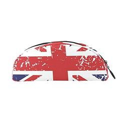 DEYYA Retro Union Jack UK Flag Pencil Case, Large Capacity P