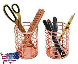 PAG Rose Gold Office Supplies Pen Holder for Desk, Makeup Br