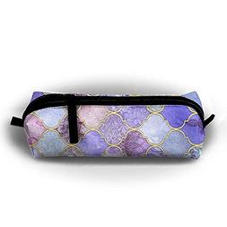 Royal Purple Pattern Canvas Pencil Bag Holder Pen Case Stati
