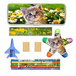 XheHe Stationery Set with Cat Kitten Plastic Pencil Case Pen