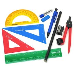 Westcott Ten Piece Math Tool Kit, Assorted Colors