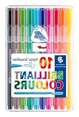 Staedtler Triplus Broadliner Pack of 10 Assorted Colours