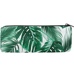 ALAZA Tropical Green Palm Leaves Pen Holder School Pencil Ca