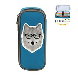 Wild Wolf with Glasses Pen Case - Canvas Pencil Bag Large Ca