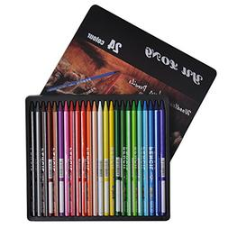 Yulong Woodless Colored Pencils 24 Colors Soft Core 7 Inches