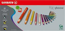 Stabilo Woody 3-in-1 Colored Pencils, 10 mm lead - 18-Color