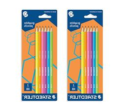 Staedtler Wopex Graphite Pencils - neon colours pack of 6 HB