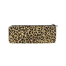 ALAZA Yellow Leopard Zipper Pencil Pen Case Animal Skin Pouc